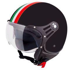 Vinz Trafori zwart Italy jethelm fashionhelm Vespa helm scooterhelm motorhelm vooraanzicht