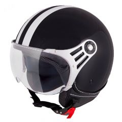 Vinz Fiori zwart witte strepen jethelm fashionhelm scooterhelm motorhelm vooraanzicht