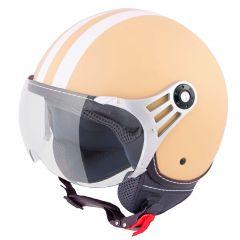 Vinz Fiori mat creme witte strepen jethelm fashionhelm scooterhelm motorhelm vooraanzicht