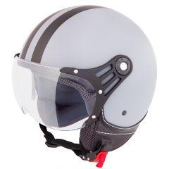 Vinz Fiori mat grijs zwarte strepen jethelm fashionhelm scooterhelm motorhelm vooraanzicht