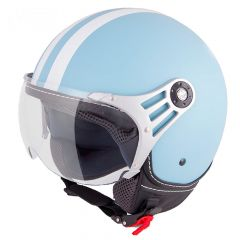 Vinz Fiori mat licht blauw jethelm fashionhelm scooterhelm motorhelm vooraanzicht