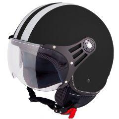 Vinz Fiori mat zwart jethelm fashionhelm scooterhelm motorhelm vooraanzicht