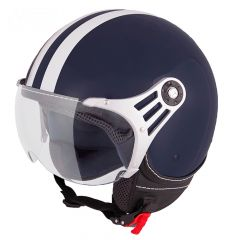 Vinz Fiori marineblauw witte strepen jethelm fashionhelm scooterhelm motorhelm vooraanzicht