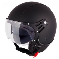 Vinz Laghi zwart leren jethelm fashionhelm scooterhelm motorhelm vooraanzicht