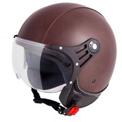 Vinz Laghi bruin leren jethelm fashionhelm scooterhelm motorhelm vooraanzicht