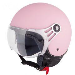 Vinz Stelvio mat roze jethelm fashionhelm scooterhelm motorhelm vooraanzicht